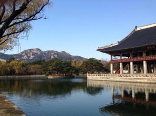 Gyeongbokgung Palace 경복궁 pavilion on a lake in Seoul.
